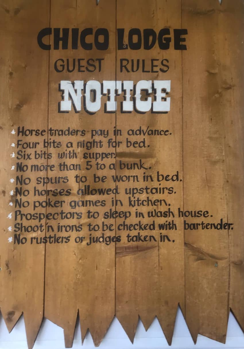 The house rules at Chico Hot Springs Resort in Southern Montana.