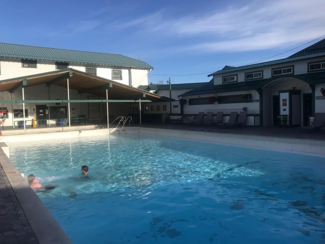 The large pool at Chico Hot Springs in Montana.
