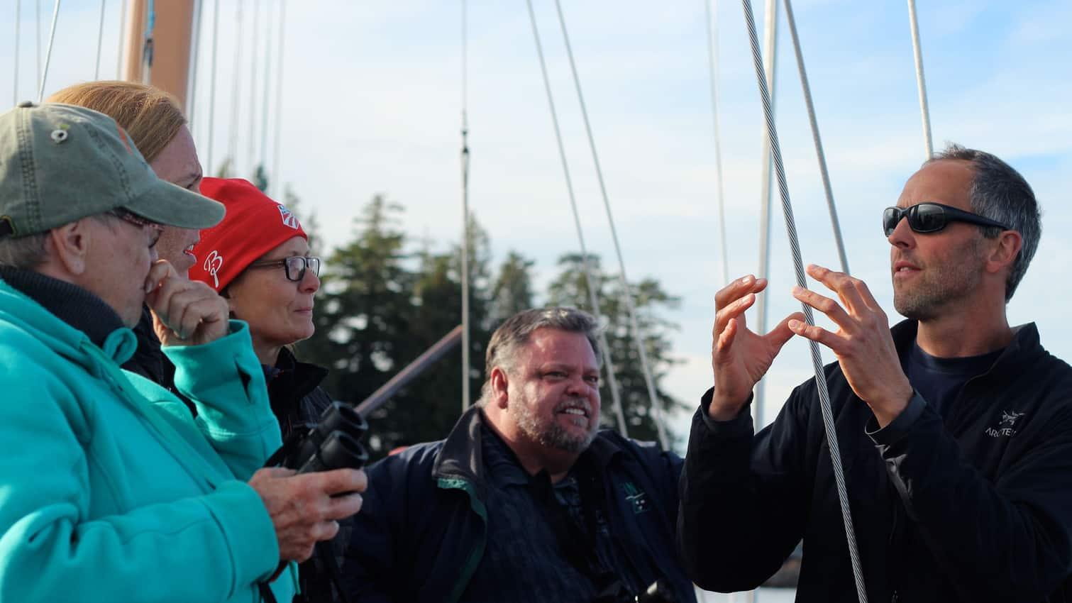 Captain Markel teaching passengers