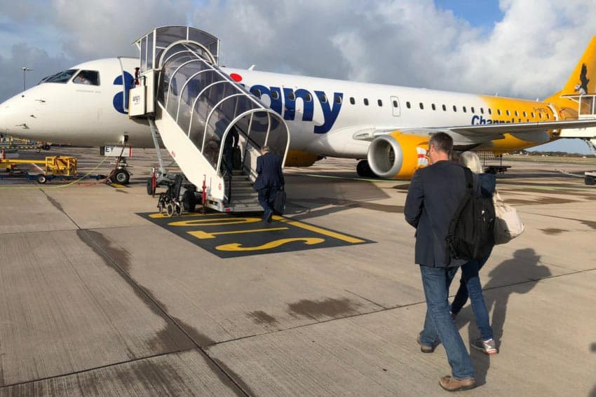 Boarding an Aurigny flight to the island nation of Guernsey. Max Hartshorne photos.