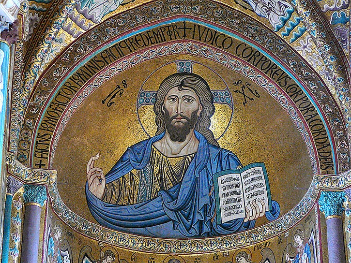Mosaic of Christ Pantokrator in the Cathedral at Cefalu, Sicily (Photo via Wikipedia Commons)