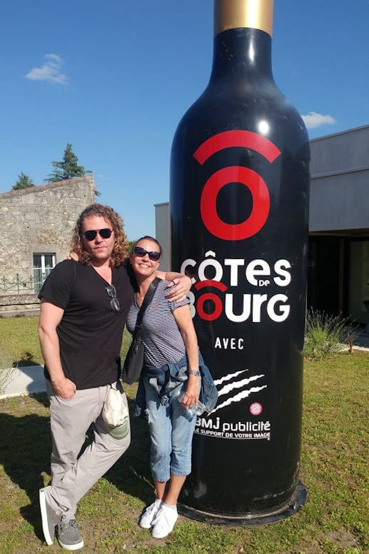 A celebration of French music and wines in the hills of Bourge can easily lead to fun antiquing on the river banks. Seen here: 'Chris squared.'