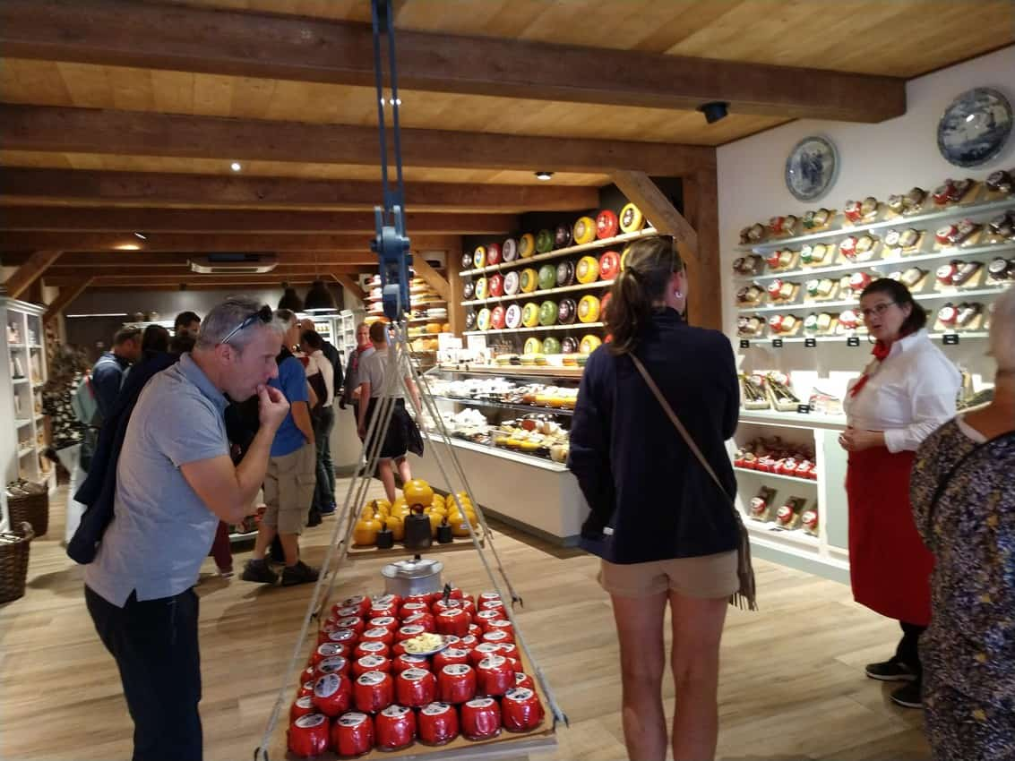 Free cheese tasting in the Edam cheese Market.