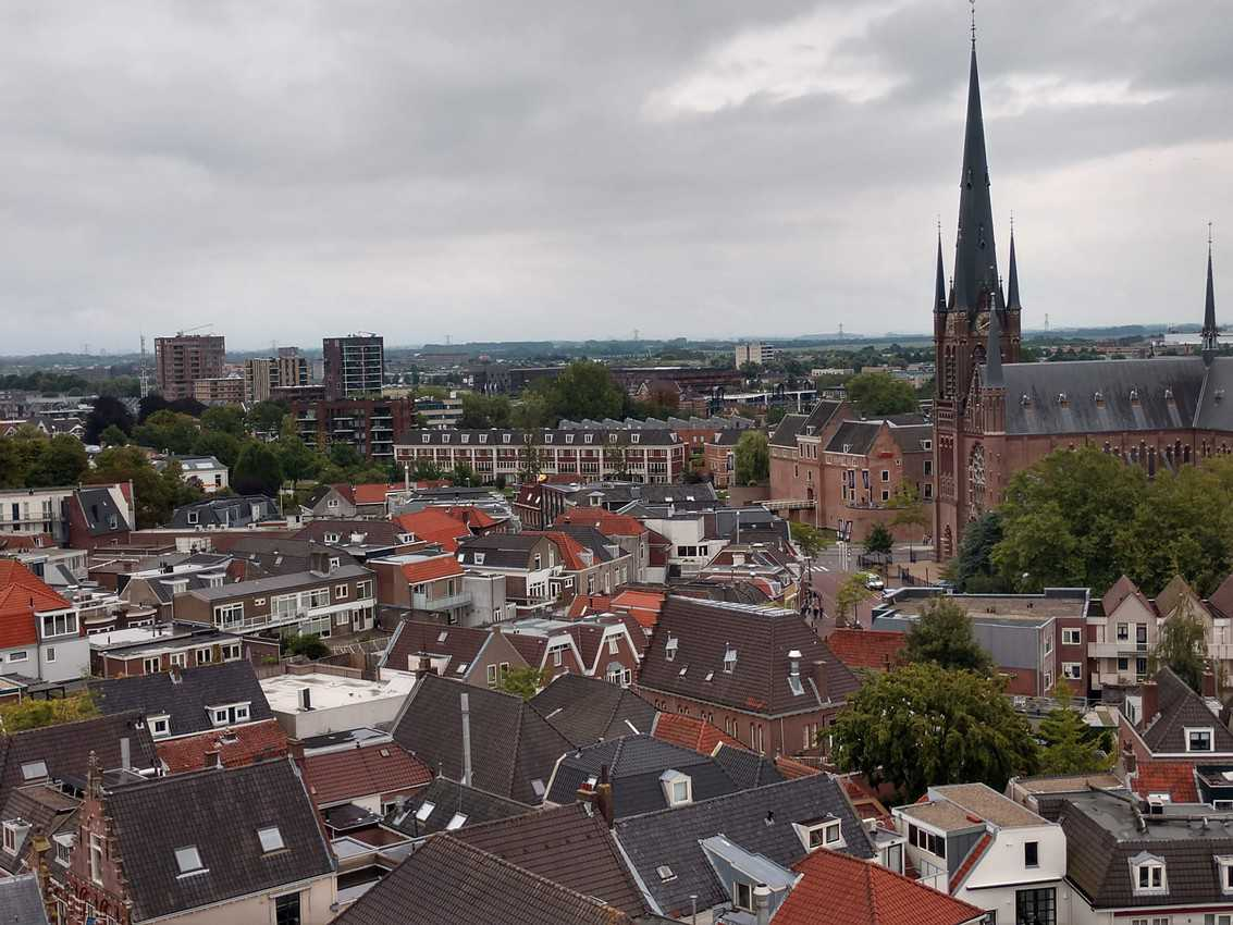 A view of the city of Woerden from the tower of Petruskurk, a church that dominates the city square.