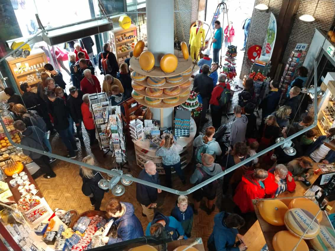 The crowded cheese shop in Gouda.