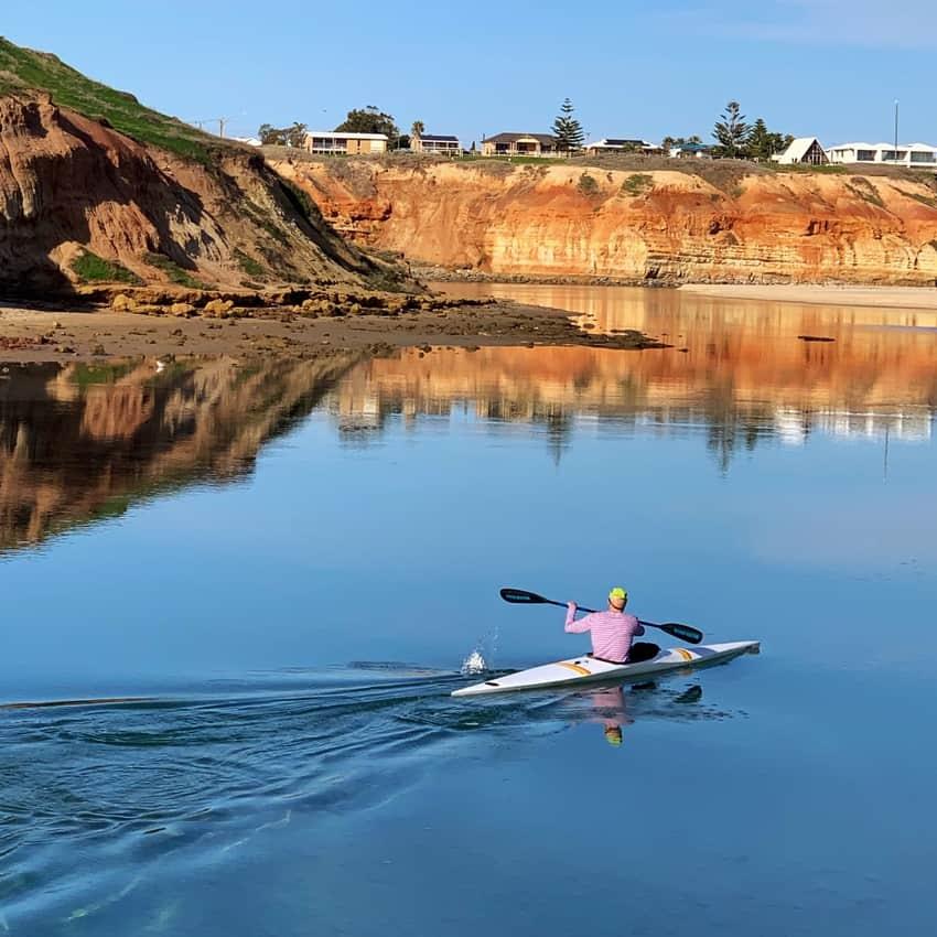 A solitary paddle near Maslin Beach.