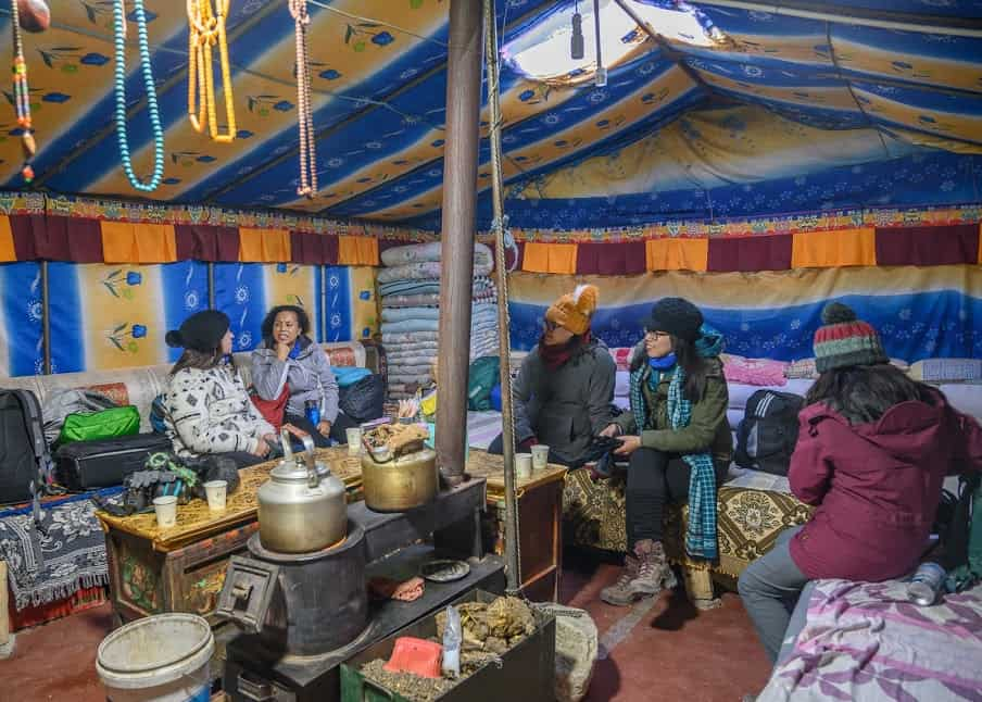 At Everest Base Camp, most travelers spending the night camp in yak wool tents heated with a small stove that burns yak dung for fuel.