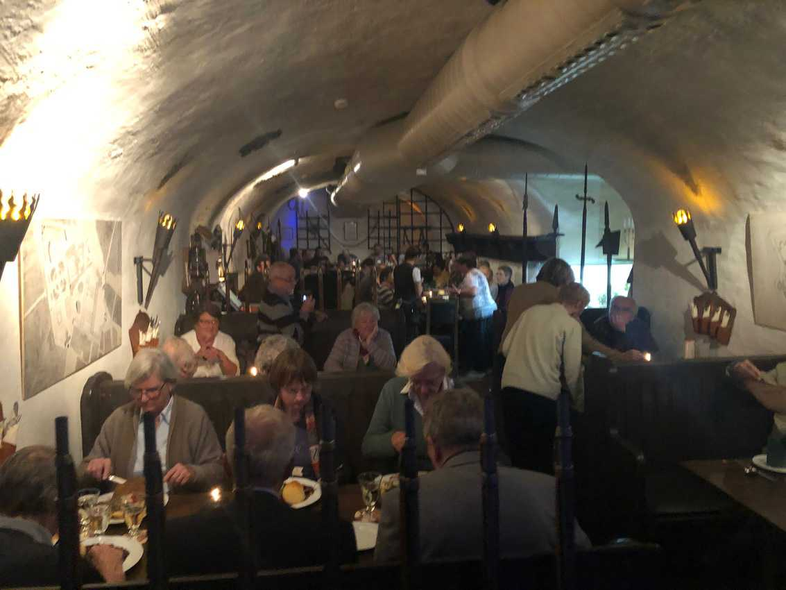 One of the cozy subterranean dining rooms of Auebach Keller in Leipzig, Germany.