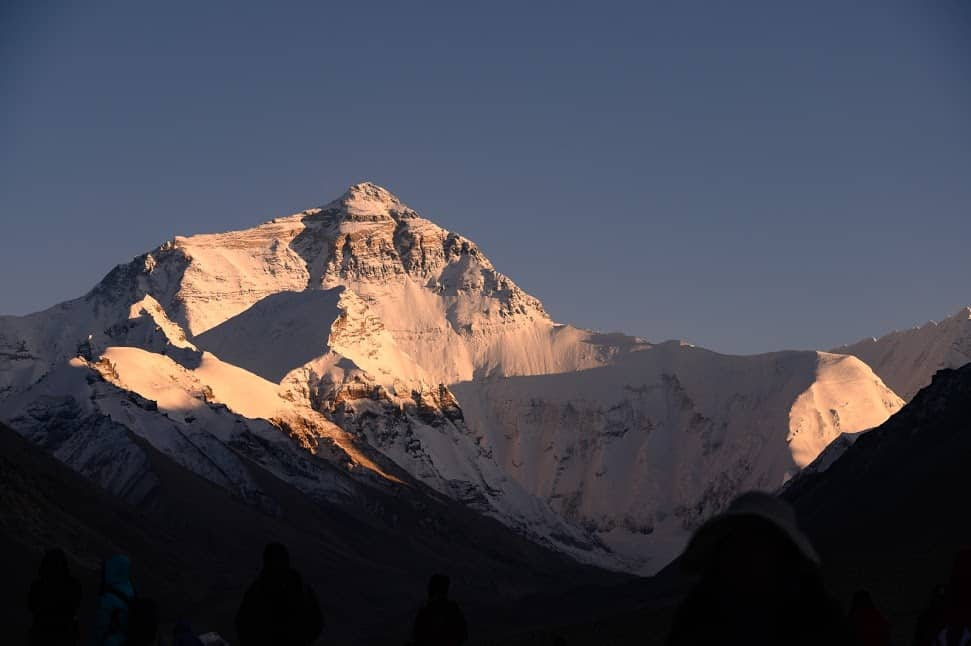 """Mt. Everest, bathed in the last light of the day, is known to Tibetans as Chomolungma, or """"Goddess Mother of the World"""". Friendship Highway"""