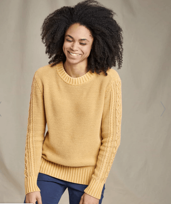 Toad and Co Sustainable Cambridge Cable crew sweater.