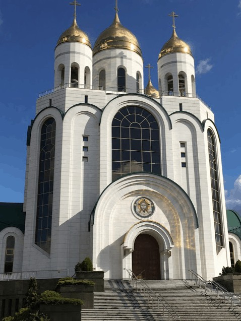 The Cathedral of Christ the Saviour with its golden domes, lavishly furnished by Boris Yeltsin