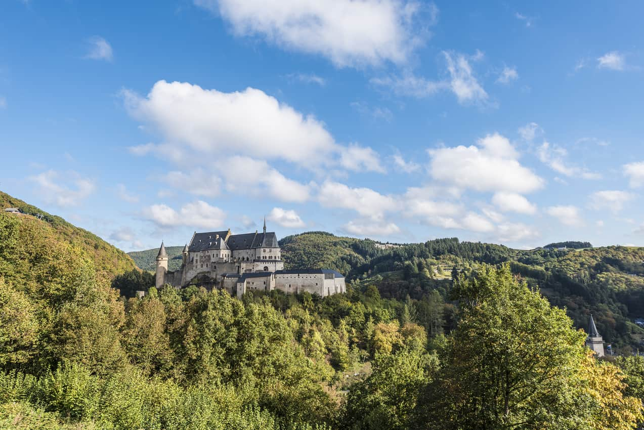 Perched high up is the impressive fortress of Vianden.