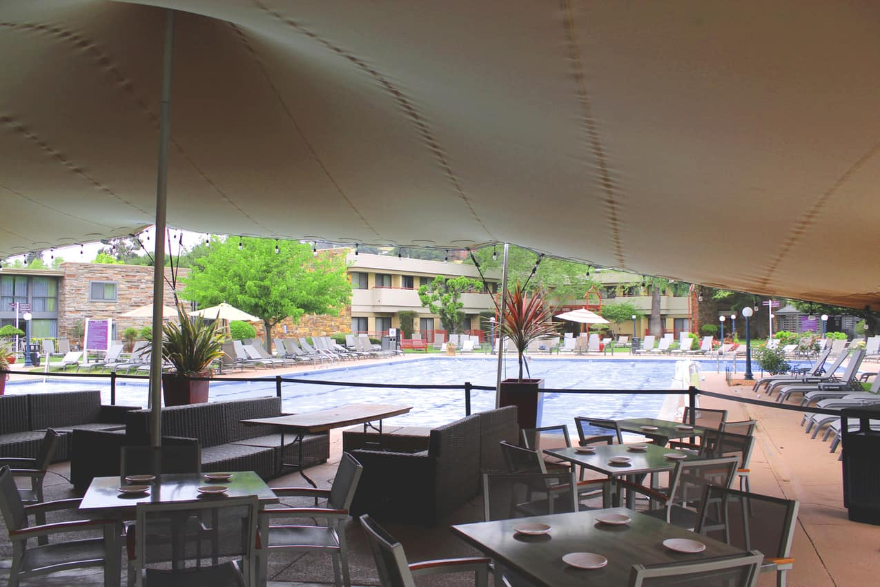Flamingo Hotel - poolside dining, Santa Rosa CA