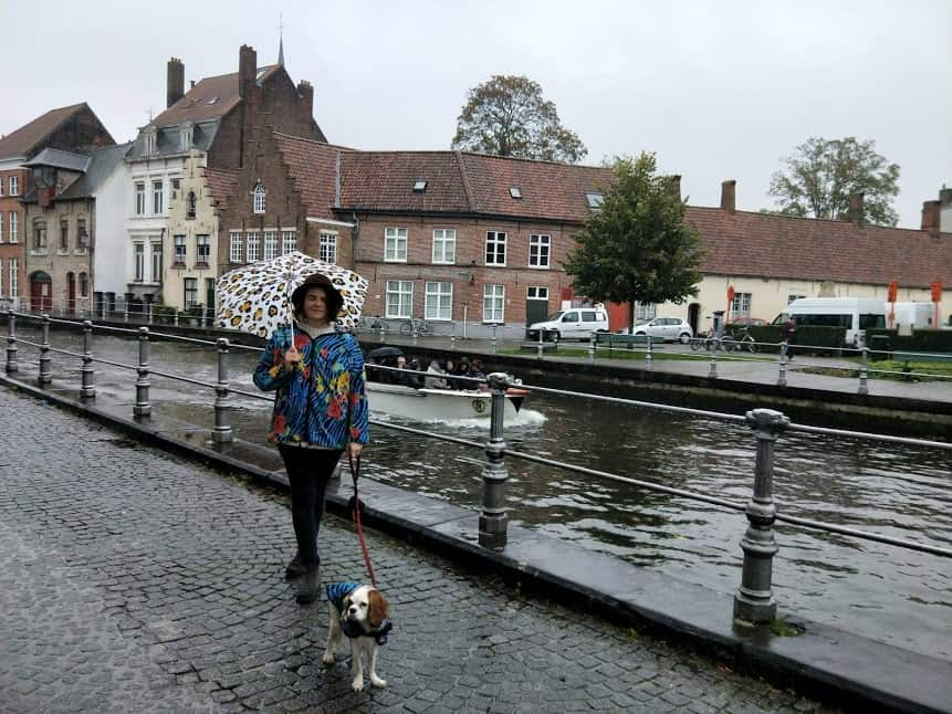 Kat and Archie in rainy Bruges Belgium.