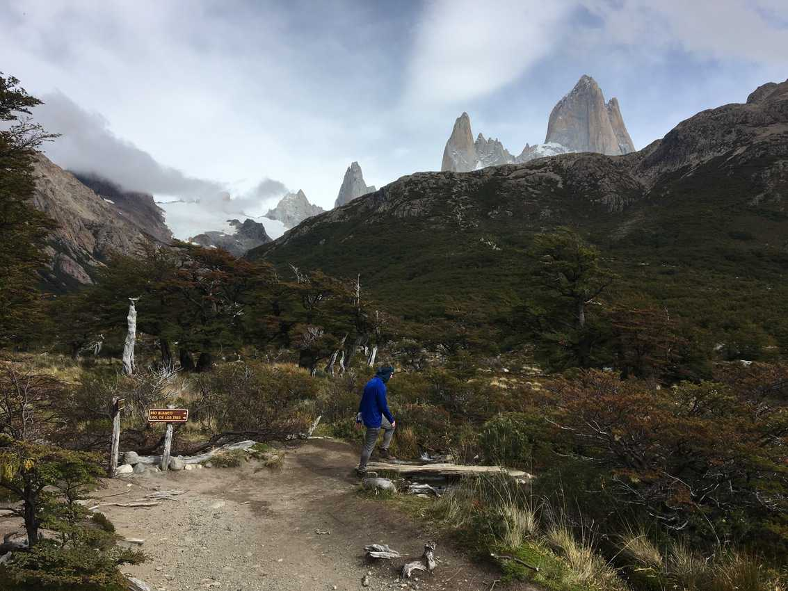 Hiking in the valley near the towering Cerro Fitz Roy