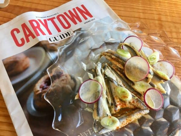 Anchovies and radishes in Carytown, VA.
