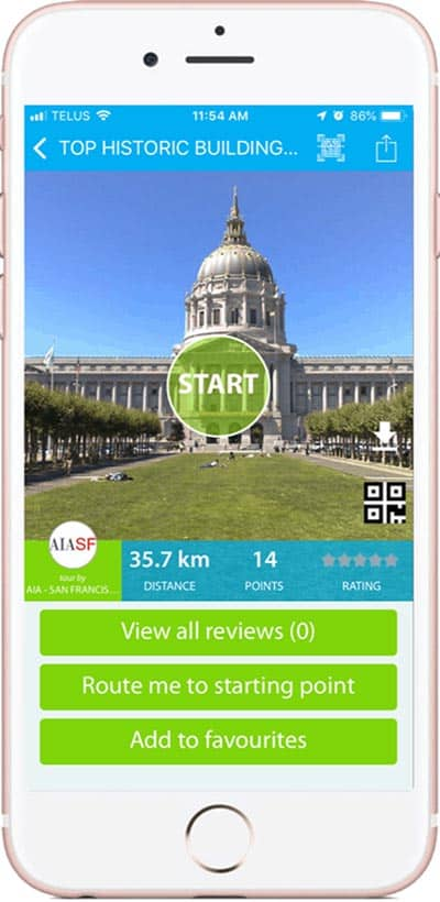 The Geotourist app offers guided tours for free on your smartphone.