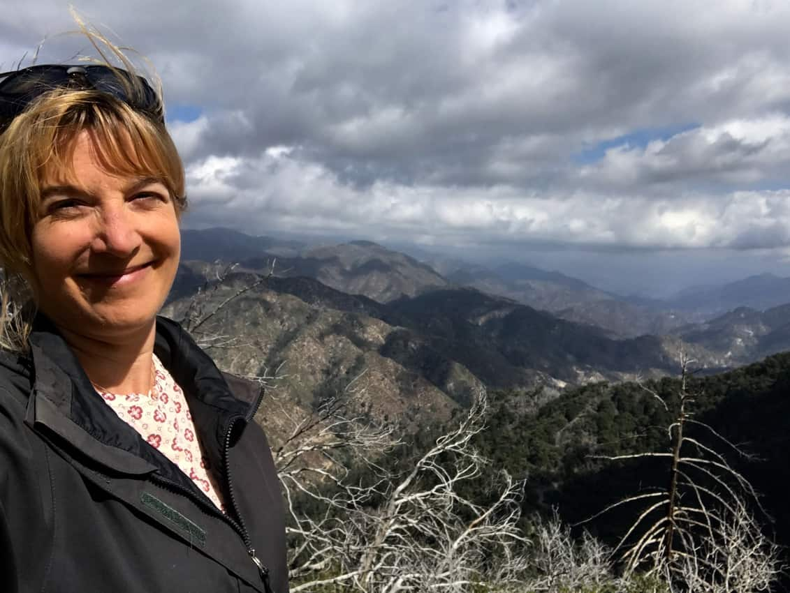 Author, Sonja Stark, enjoys views of the Angeles National Forest just north of Los Angeles, California, close to the famous Mount Wilson Observatory