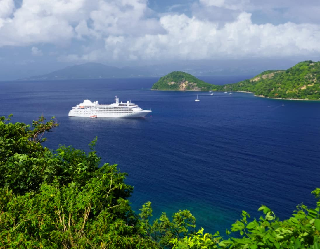 The 298 passenger ship Wind anchored off the small islands of Les Saintes south of Guadalupe