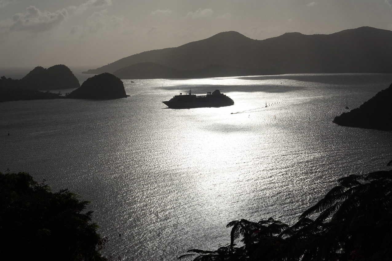 Quiet anchorage near dusk