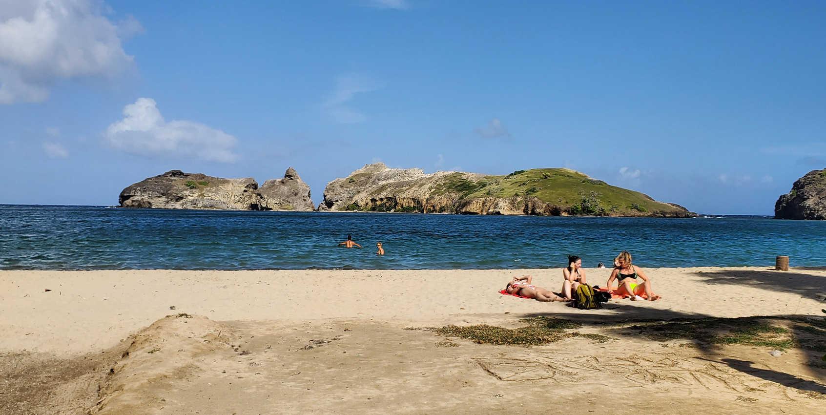 Enjoying a quiet afternoon on Pompierre Beach, Les Saintes
