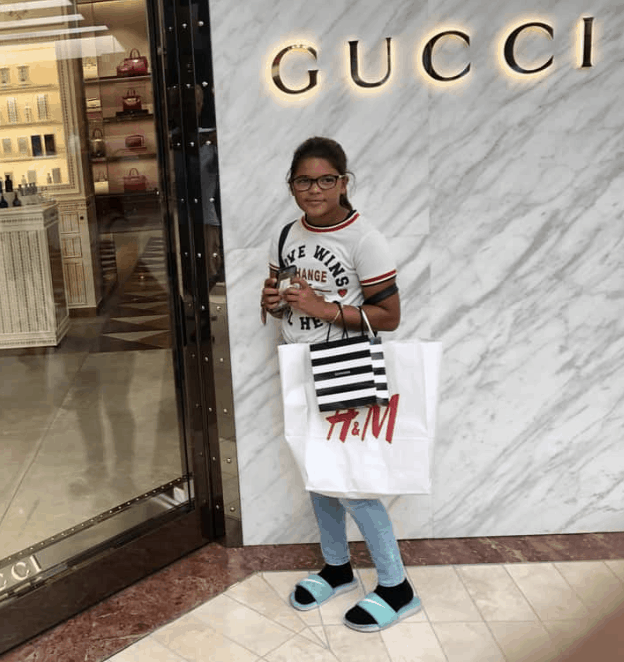 Granddaughter Sofie loved our shopping trip in Costa Mesa.