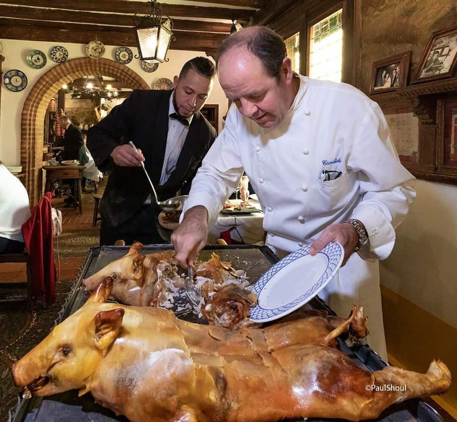 Cutting a ham in Segovia, Spain. Paul Shoul photos.