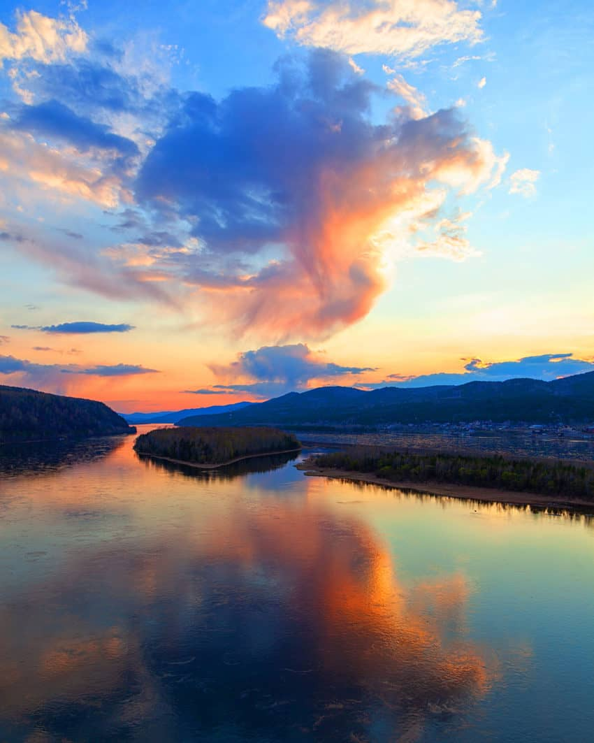 A spectacular sunset over the Yenisei,
