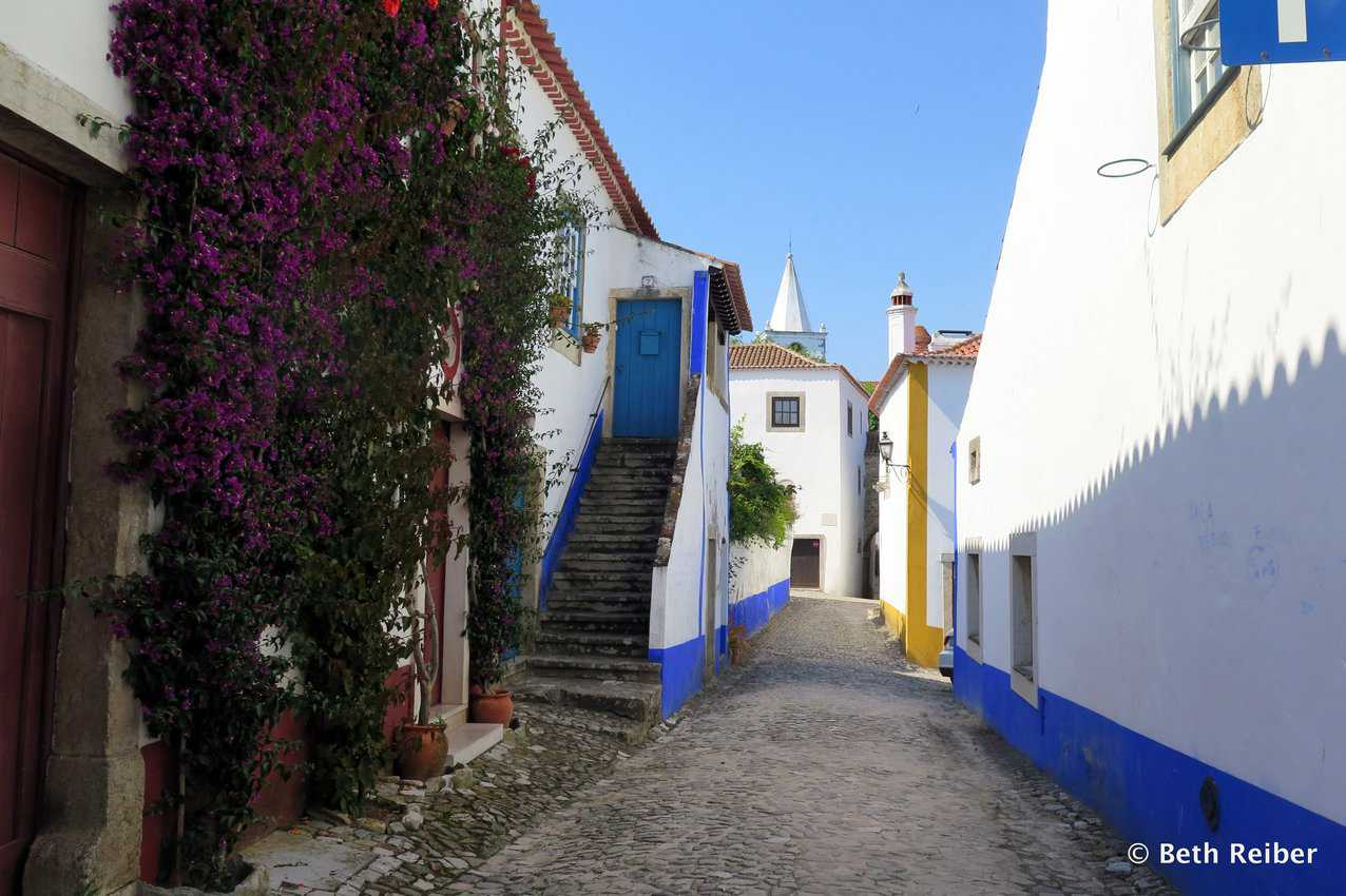 Whitewashed buildings with blue and ochre details and bougainvillea are part of Obidos' charm
