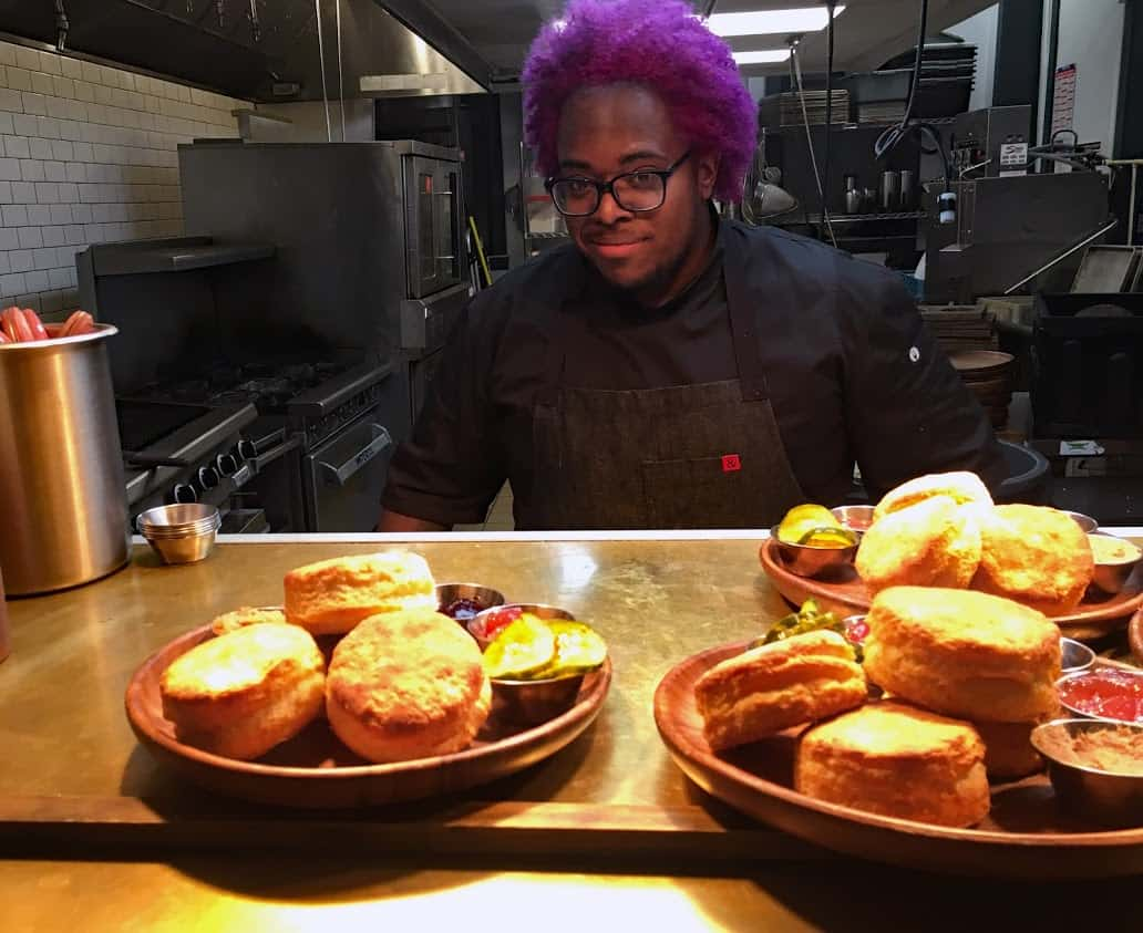 Chef Christian Gill turns out biscuits with jam or gravy flights at Boomtown Biscuits & Whiskey in Cincinnati's Pendleton neighborhood.