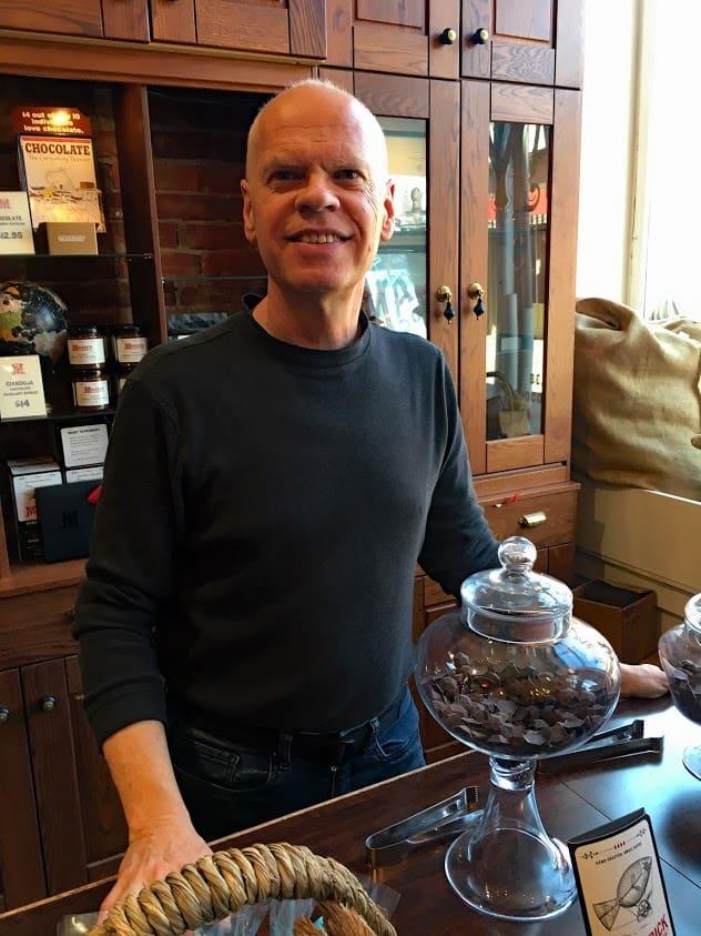 Former aviation engineer Paul Picton sells award-winning artisan chocolates at Maverick Chocolate Co. in Cincinnati.