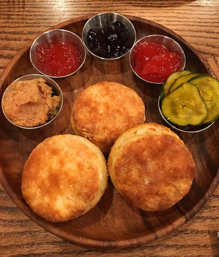 Homemade biscuits with jam or gravy flights are the specialty of the house at Boomtown Biscuits & Whiskey in Cincinnati's Pendleton neighborhood.
