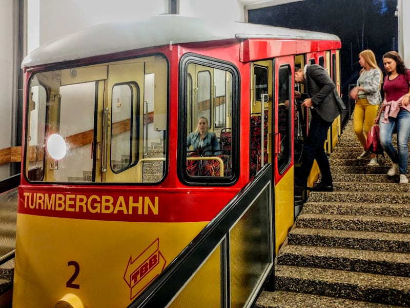Some levity our trip with the nostalgic old-school funicular up to the castle on Turmberg for some Reisling with a view.