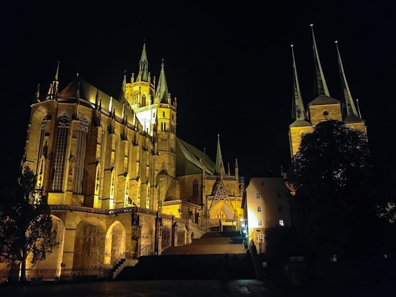A late-night meander imbibing at the lively local town square bars revealed the glowing massive UNESCO site of Erfurt Cathedral, St. Severus Church, and its adjoined Citadel.