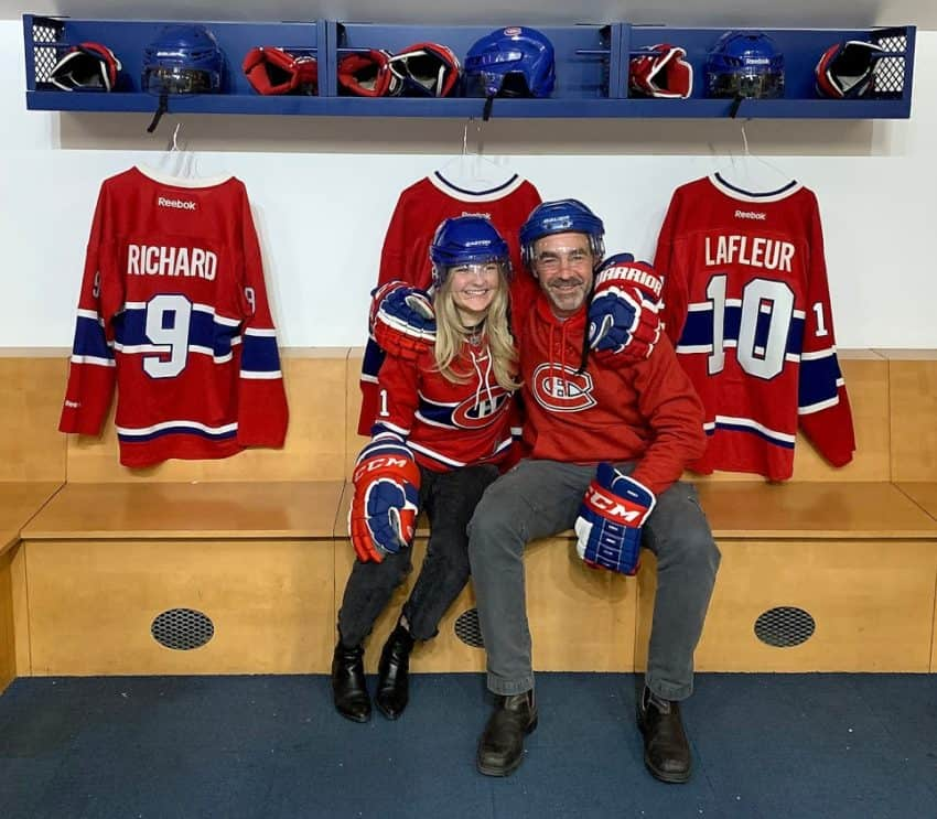 I coached Katie for seven years through her hockey career. Both of us are accustomed to wearing helmets and gauntlets. But what a thrill to sport the colours of the Habs, the Canadiens.