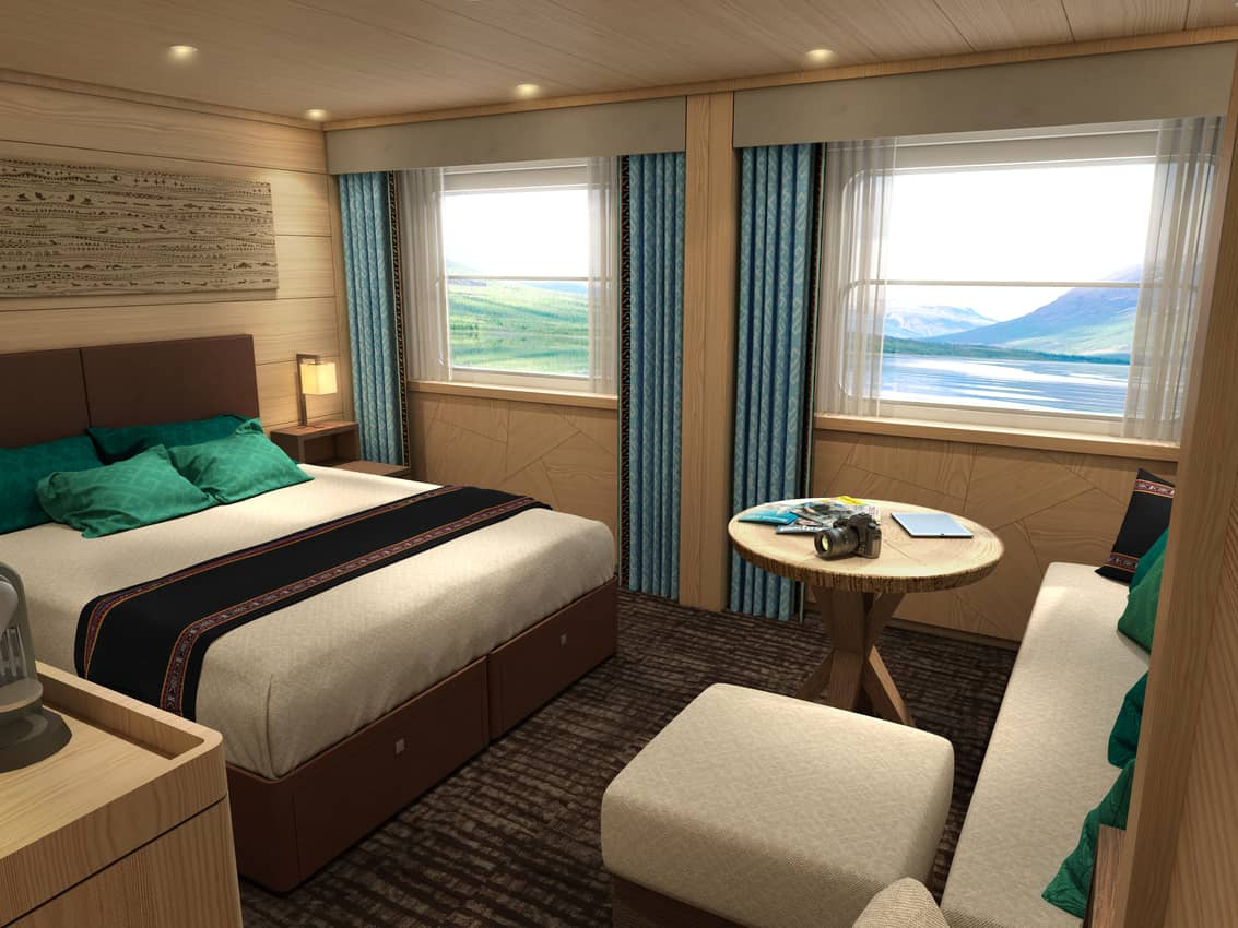 An inside look at a deluxe cabin aboard Vodohod's Russian Maxim Gorky