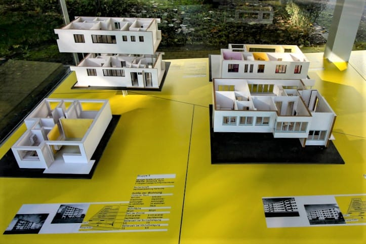 Architect Walter Gropius' famous 1929 mega-Bauhaus Dammerstock housing settlement in Karlsruhe was the first of its kind. A model sits at its entrance.