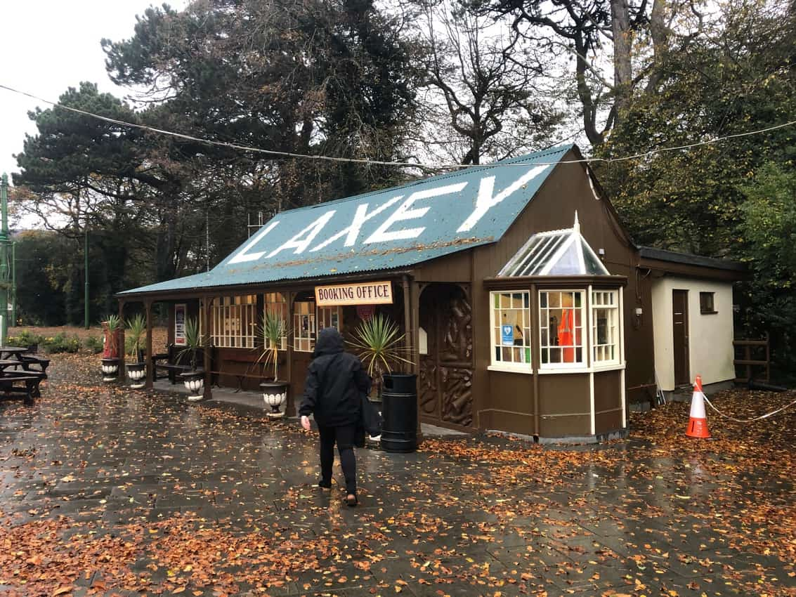 The electric tram station in Laxey.