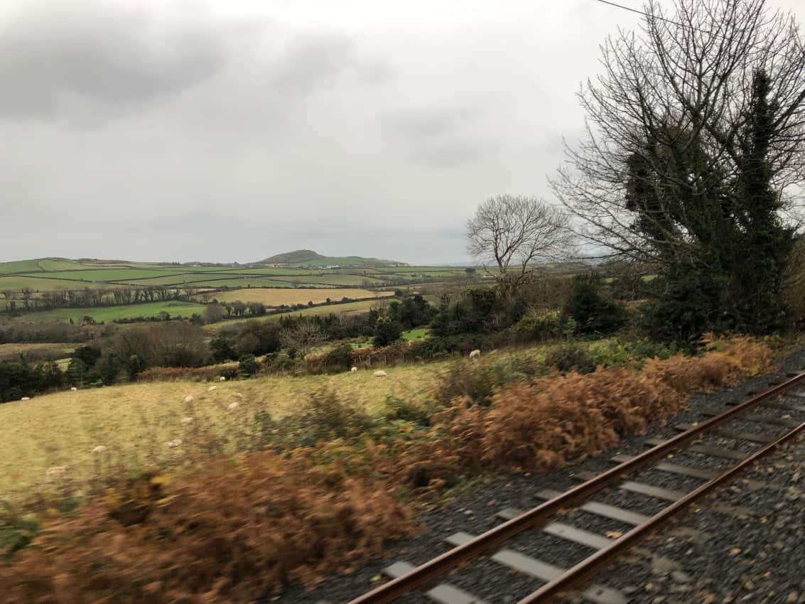 Riding the electric tram 14 miles from Douglas to Ramsey on the Isle of Man.