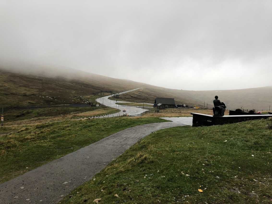 The winding road at the top of Mt Snaefell where the TT racers speed by on motorcycles.