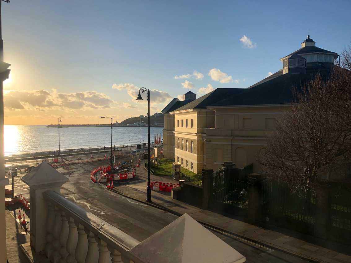 Morning light along the seafront promenade in Douglas, Isle of Man.