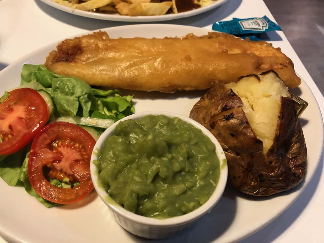 Fried fish with mushy peas from the Chip Shop.