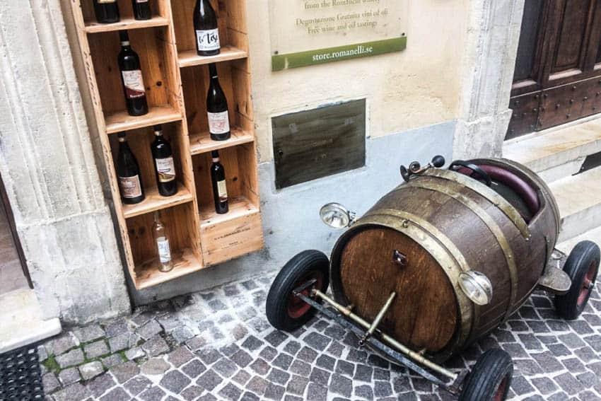 Montefalco: A street during the Anteprima Sagrantino wine fair. By John Henderson