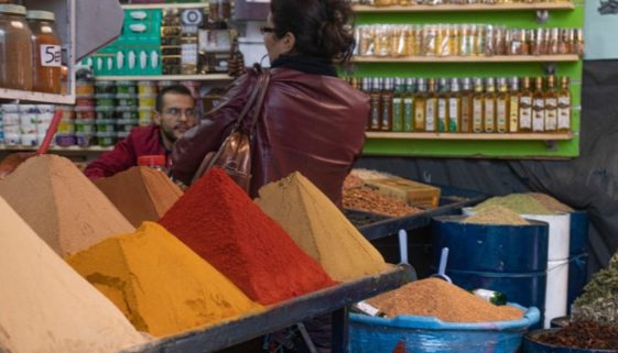 Mounds of spices for sale.