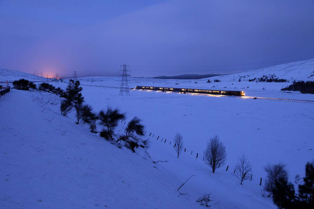 The Caledonian Sleeper in the Pass of Drumochter at night. Photo by Paul Tomkins, Visit Scotland.