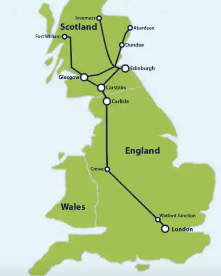 The route of the Caledonia Sleeper.