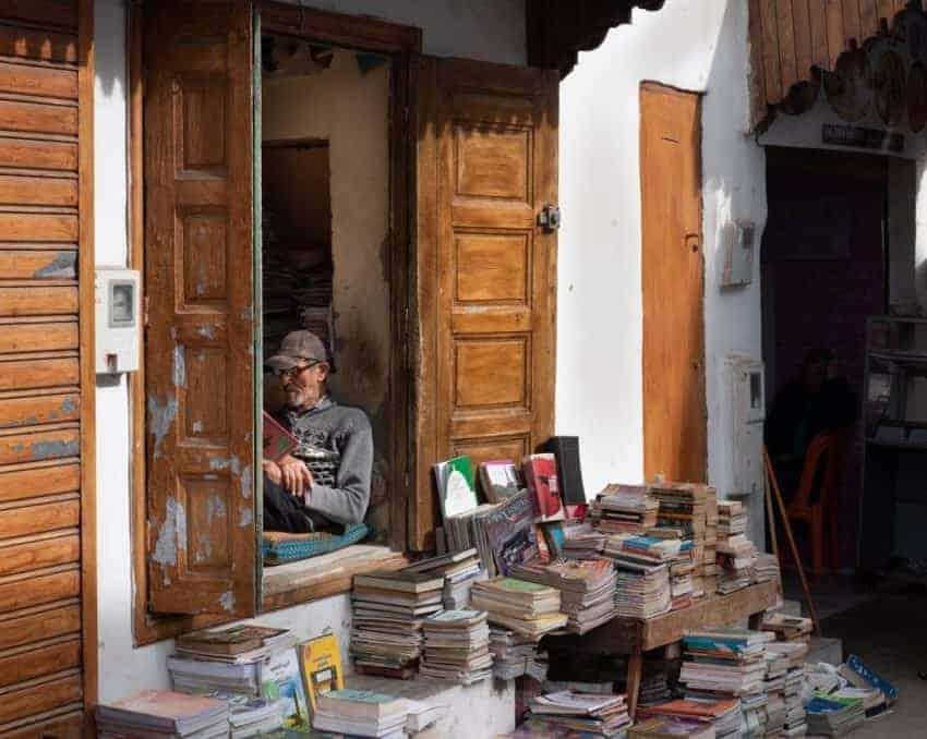 Mohammed Aziz, a book merchant, at his bookstore in Rabat's medina. Photo credit: Stephen Higgins.