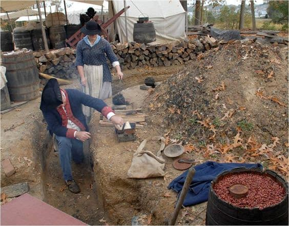 The Earthen kitchen at the American Revolution Museum at Yorktown in Virginia.
