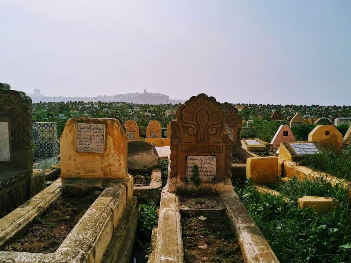 The graveyards of Salé with Rabat in the distance. Photo credit: Mac Dressman.