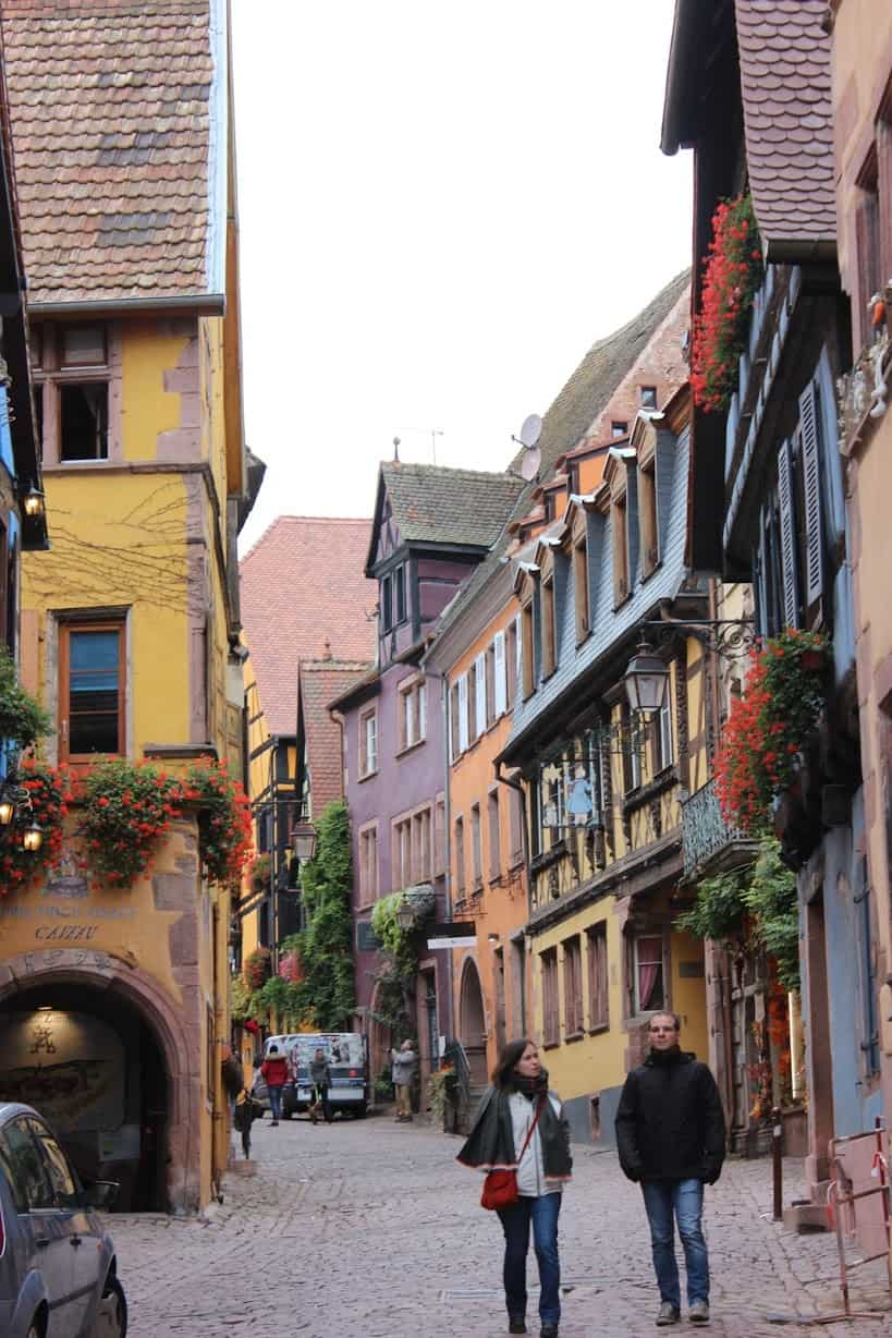Walking the cobblestoned streets in Riquewihr, Alsace.
